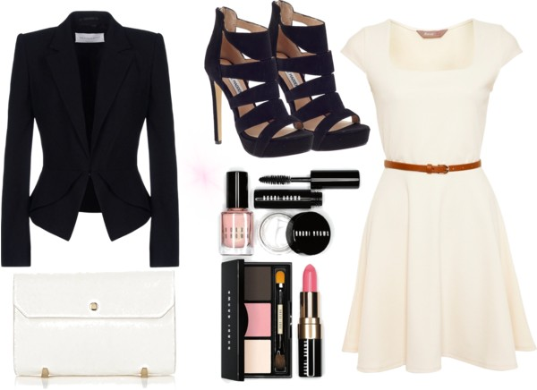 Black blazer white dress
